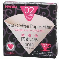 Hario V60 Paper Filters 02 Dripper 40 Sheets - Unbleached